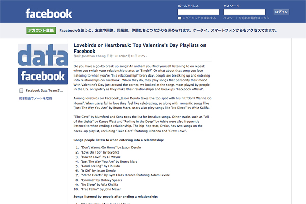 「Lovebirds or Heartbreak: Top Valentine's Day Playlists on Facebook」on facebook